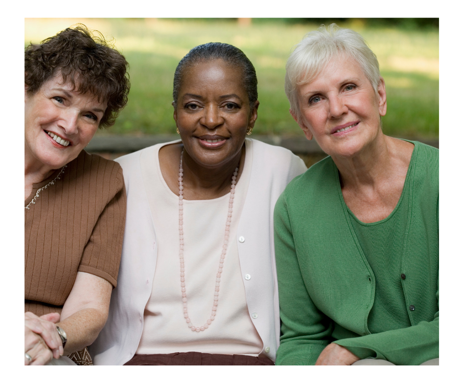 Three senior women sitting together on a bench. Shows multicultural nature of Senior Women Living Together.